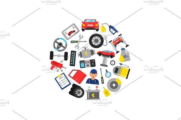 Vector Flat Style Car Service Elements