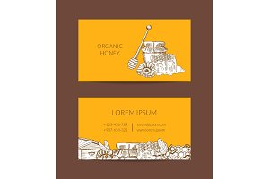 Vector business card template for honey farmer or shop