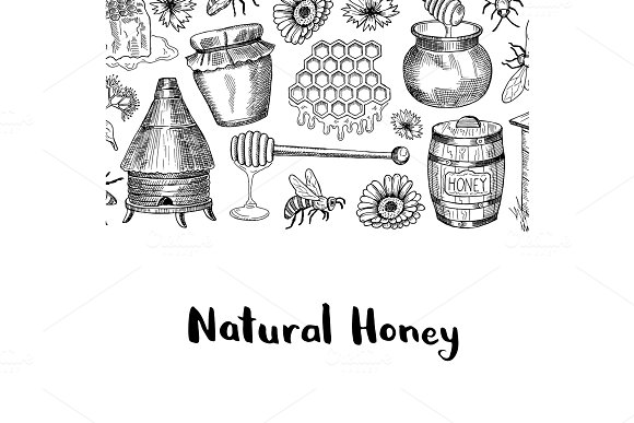 Vector Background With Sketched Honey Elements
