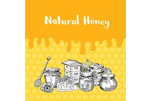 Vector illustration with honey elements, dripping honey and place for text
