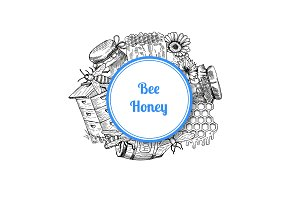 Vector pile of hand drawn honey elements
