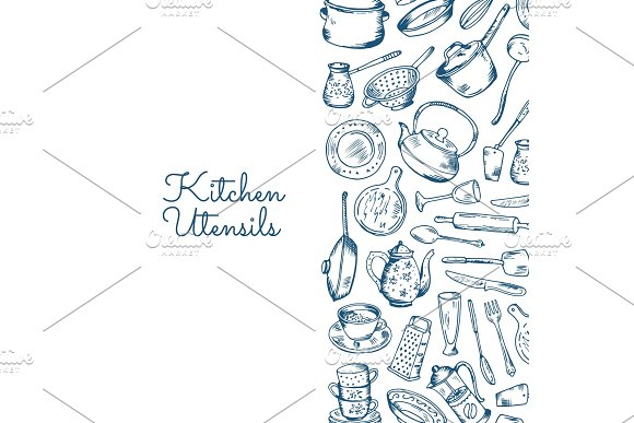 Vector Background With Kitchen Utensils With Place For Text