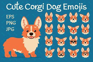Cute Corgi Dog Emojis. Set.
