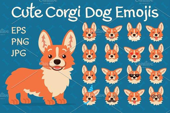 Cute Corgi Dog Emojis. Set.