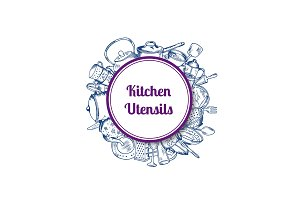 Vector hand drawn kitchen utensils circle