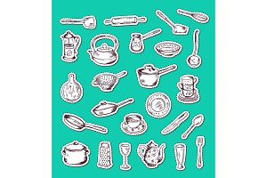 Vector stickers set with hand drawn kitchen utensils