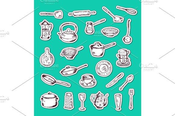 Vector Stickers Set With Hand Drawn Kitchen Utensils