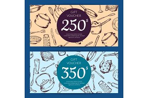 Vector gift voucher or discount card kitchen