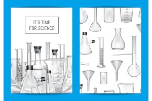 Vector card, flyer or brochure template for chemical lab