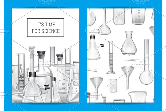 Vector Card Flyer Or Brochure Template For Chemical Lab