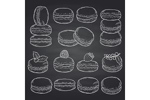 Vector set of hand drawn macaroons on chalkboard illustration