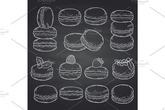 Vector Set Of Hand Drawn Macaroons On Chalkboard Illustration