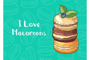 Vector background with colored hand drawn macaroons and place for text