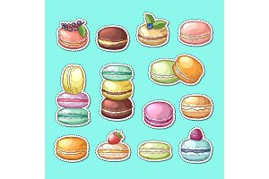 Vector stickers set with colored hand drawn macaroons