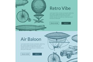 Vector banners illustration with steampunk hand drawn airships