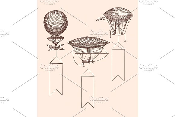 Vector Set Steampunk Hand Drawn Air Balloons