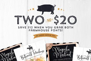 Two For $20 | Farmhouse Font Bundle