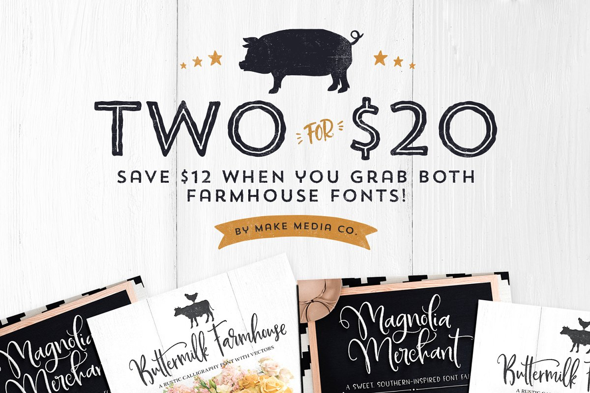 Two For $20 | Farmhouse Font Bundle ~ Fonts ~ Creative Market