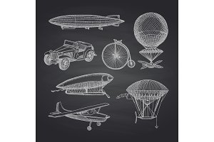 Vector set of steampunk hand drawn dirigibles, bicycles