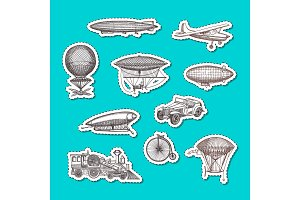 Vector stickers set dirigibles, bicycles and cars