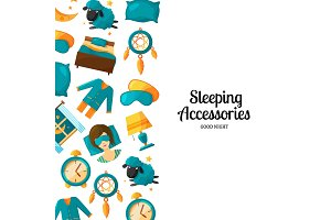 Vector background with cartoon sleep elements and place for text