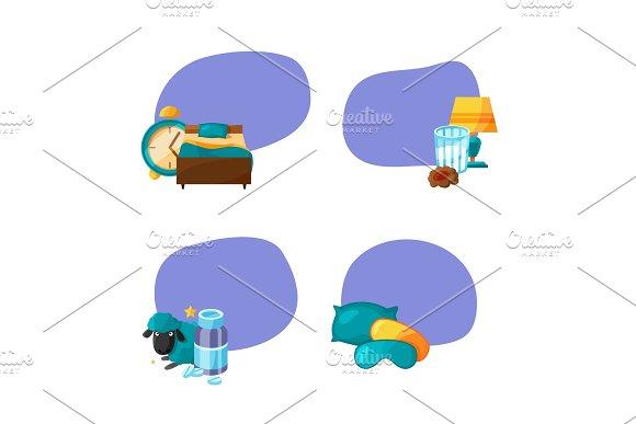 Vector Set Of Stickers With Cartoon Sleep Elements