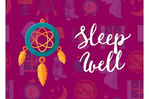 Vector background with cartoon sleep elements, dreamcatcher