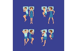 Vector set of couple of man and woman sleeping on pillows poses illustration