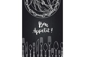 Vector background on black chalkboard illustration with hand drawn tableware