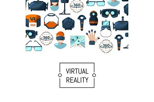 Vector flat style virtual reality elements