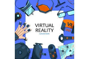 Vector background with flat style virtual reality elements