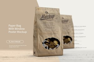 PAPER BAG WITH WINDOW/POSTER MOCKUP