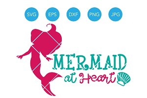 Mermaid at Heart SVG Cut File DXF