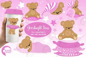 Teddy Bear Clipart in Pink, AMB-983
