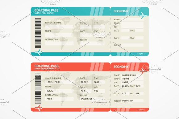 vector airplane tickets graphic objects creative market. Black Bedroom Furniture Sets. Home Design Ideas