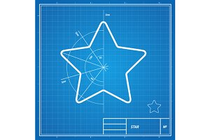Vector blueprint  star card.