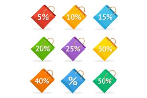 Vector colorful paper bag sale icon