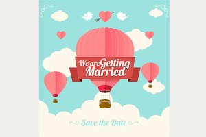 Vector. Pink hotair ballons.Wedding