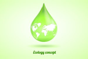 Vector green drop. Ecology concept