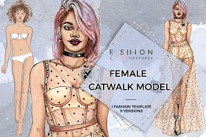 Female Catwalk Model Fashion croquis