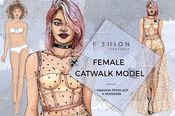 Female Catwalk Model Fashion Croquis