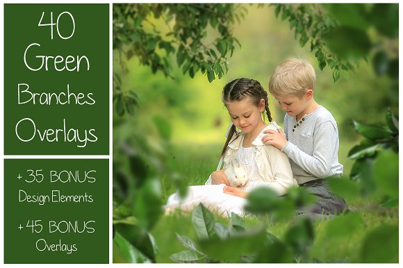 120 Green Tree Branches Overlays in Photoshop Layer Styles
