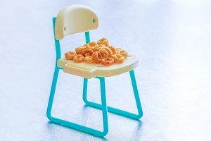 Healthy cereal rings on seat
