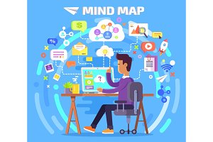 Mind Map of Character at Computer Illustration
