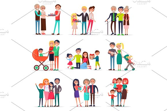 Concept Of Parents Day On White Background Flat