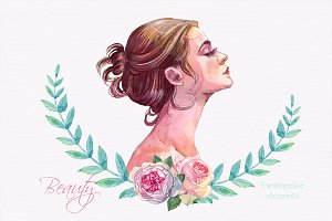 Woman profile clipart watercolor