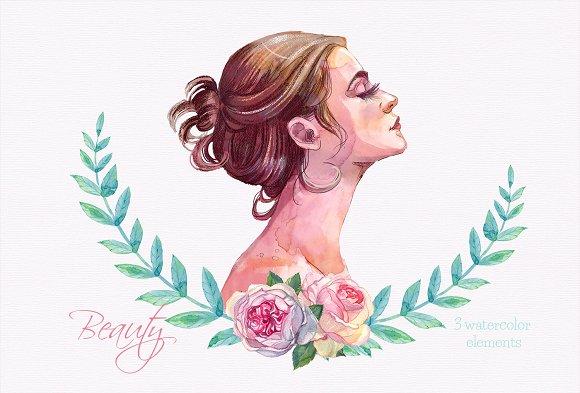 Woman Profile Clipart Watercolor