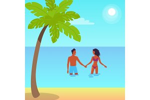 Poster of Happy Couple Standing in Sea