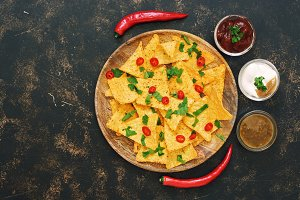 Mexican nachos chips with sauces