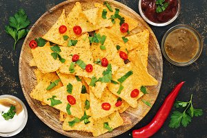 Nachos. Close-up of corn chips